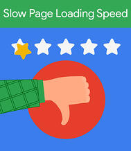 Slow loading pages will kill your SEO even more with Google's page experience update. [graphic] Thumbs down under a one star rating above.