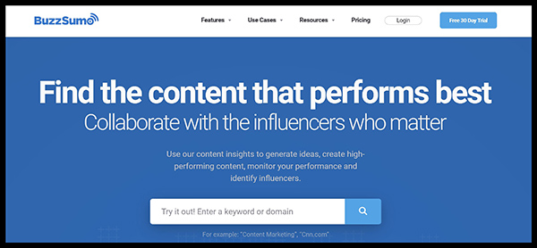 BuzzSumo is one of the best keyword research tools - BuzzSumo homepage