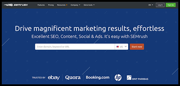 SEMrush is a great tool for general keyword research - SEMrush homepage
