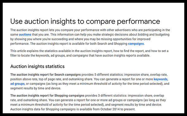Google's auction insight's tool helps you research your competitor's keywords and compares your performance.