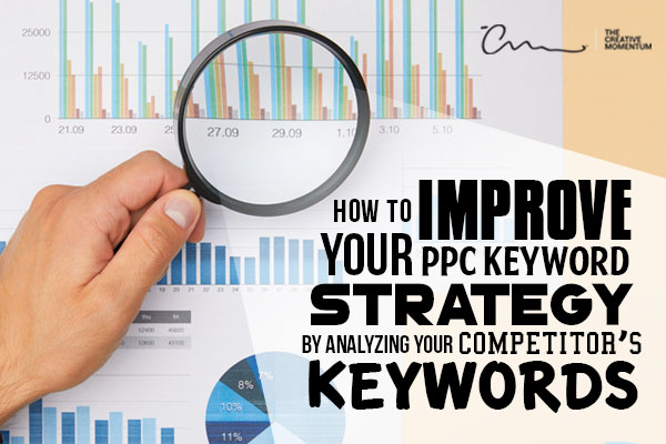 Why analyzing competitor keywords can improve your keyword strategy - hand with magnifying glass looking at a bar graph.