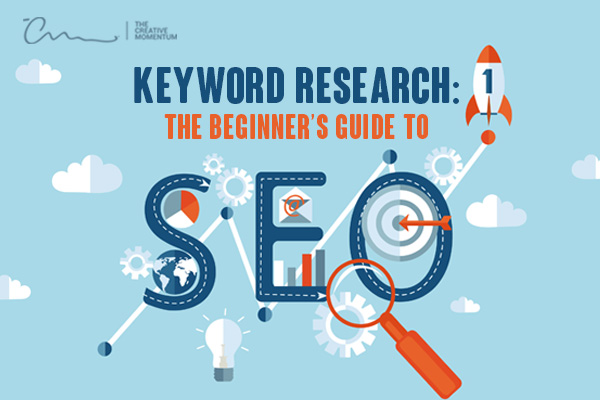 Read here for keyword research and beginner's guide to SEO. Icons - lightbulb, gears, bullseye, graph, envelope, rocket.
