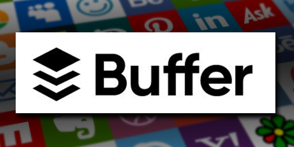 Buffer is an all-in-one social media marketing tool. Buffer's logo over a background grid of social media icons.
