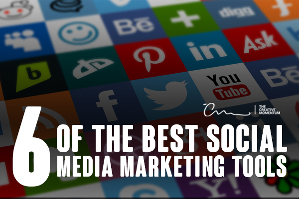 Read what 6 of the best social media marketing tools are here. Grid of social media logos.