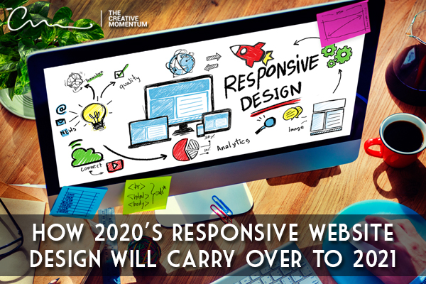 The responsive website design trends from 2020 are set to carry over to 2021, and possibly beyond. Computer monitor with notes.