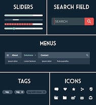 Website UI Design Elements - Navigation components such as sliders, menus, search fields and tags help users find their way around your website.