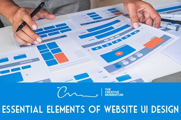 Essential elements of website UI design - hands hold wireframe design plans