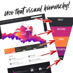 Web design best practices - Use visual hierarchy to prioritize website concepts - a webpage uses colors to signify its visual hierarchy