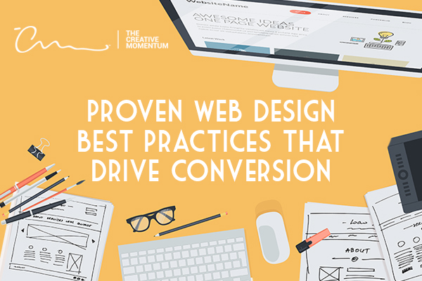 These web design best practices are proven to drive conversion - common desk items - monitor, keyboard, mouse, papers, glasses