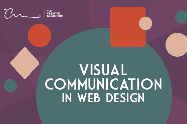Communicate through visual web design. Differently colored and sized shapes.