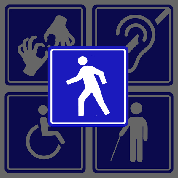 website ada compliance - What is digital ableism? Disability signs - signing hands, deaf, wheelchair, person with cane - covered by a walk sign