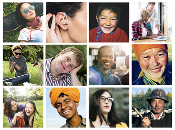 website ada compliance - Collage of people from different backgrounds and with different abilities