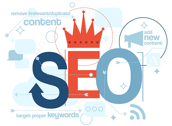 SEO is king when it comes to web design strategy - large SEO word with crown