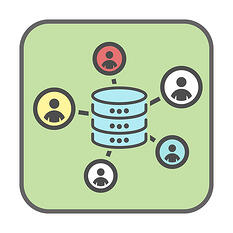 Web Design for the Internet of Things - Icons representing data collection from multiple people