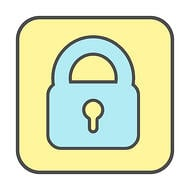 Web Design for the Internet o Things - Icon of a lock on yellow background