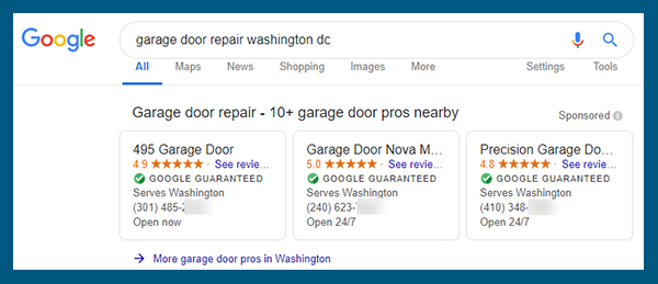 Google Local Trust Pack Benefits for SEO - Google local search result example 'garage door repair washington dc'