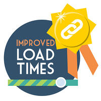 SEO backlink strategy #1 - Improve your load speed. A gold ribbon with link icon with a loading progress bar