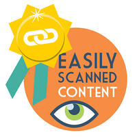 SEO backlink strategy #2 - Create easily scannable content. A gold ribbon with a link icon alongside an eye.