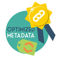 SEO backlink strategy #3 - Optimize your metadata. A gold ribbon with a link icon alongside a tag containing angle brackets.