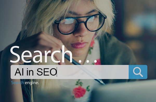 """AI has powerful implications for SEO value and SERP rankings. Search bar with """"AI in SEO,"""" person looks at a computer screen."""