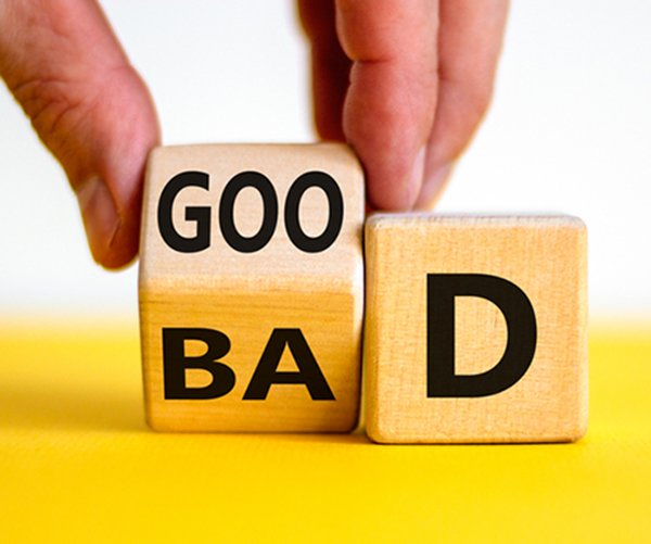 """SEO domain authority - what makes a """"good"""" vs. """"bad domain authority? Wooden blocks spell good and bad"""