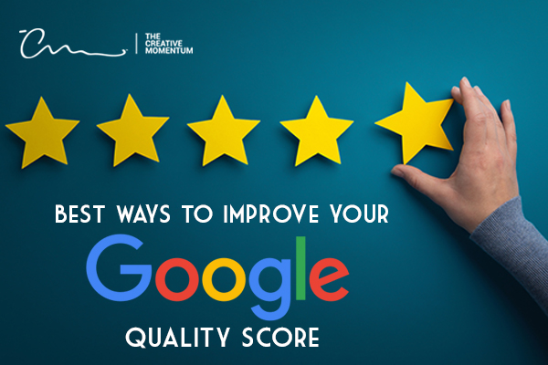 Read here to learn the best ways to improve your Google Quality Score. Person puts five stars on a wall.
