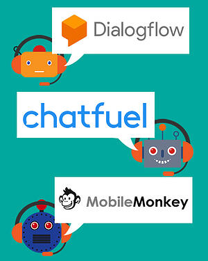 Some great website chatbots are Dialogflow, chatfuel and MobileMonkey - chatbot avatars with chat bubbles