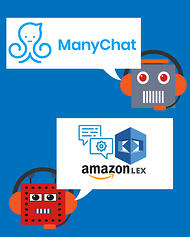Top chatbots for Facebook Messenger are ManyChat and Amazon Lex - chatbot avatars with chat bubbles