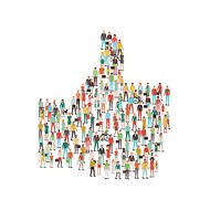 Prioritize your audience when considering how innovative your web design should be. A thumbs up made of people.