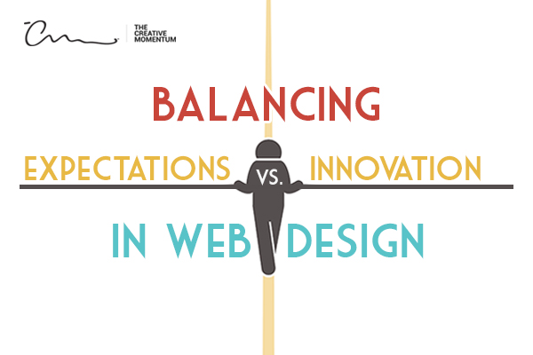 Balancing expectations versus innovation in web design - a person walks across a tightrope holding a balancing pole