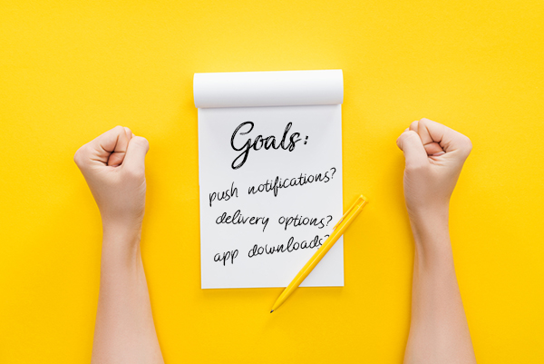 """What are your web design goals - two hands rest on either side of a notepad with the word """"Goals"""" written on top"""