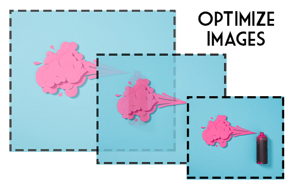 Image optimization improves your website's responsive design - an image in three different sizes