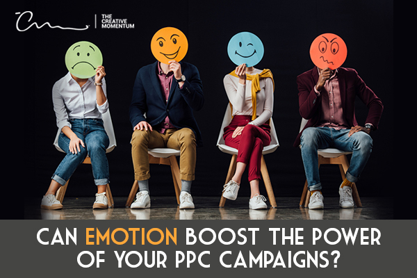 Can Emotion Boost the Power of Your PPC Campaigns? Four people hold paper faces showing various expressions over their faces