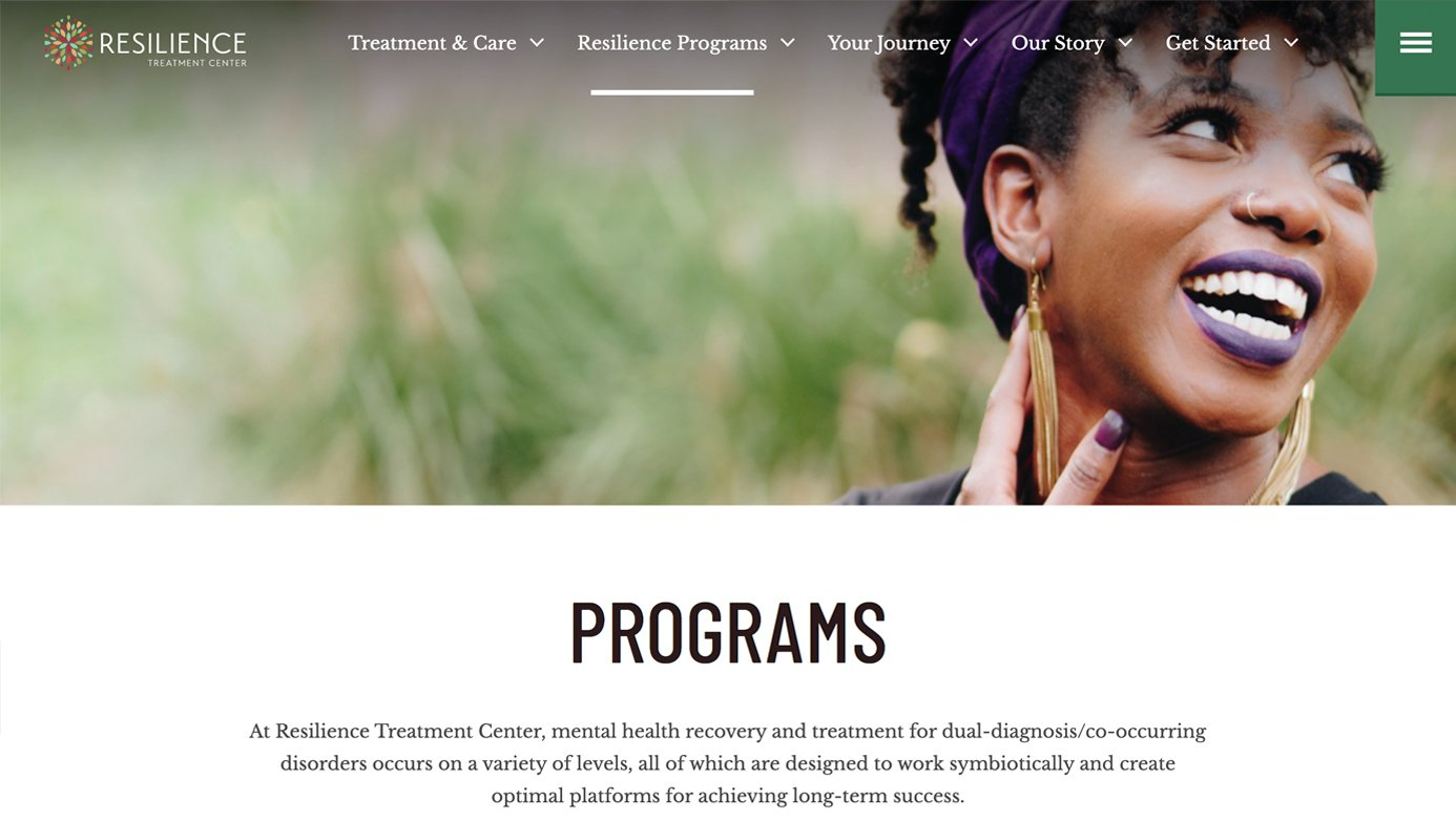 Resilience Treatment Center | The Creative Momentum - Web Design & Digital Marketing