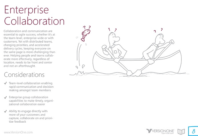 VersionOne Enterprise Collaboration custom drawings and illustrations